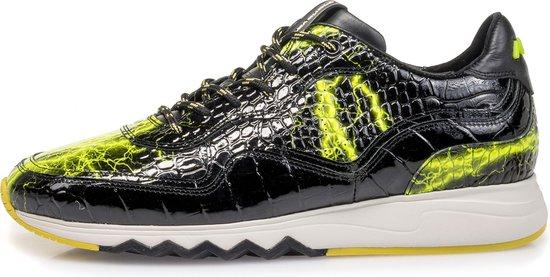 Floris Van Bommel sneaker zwart lak met gele print