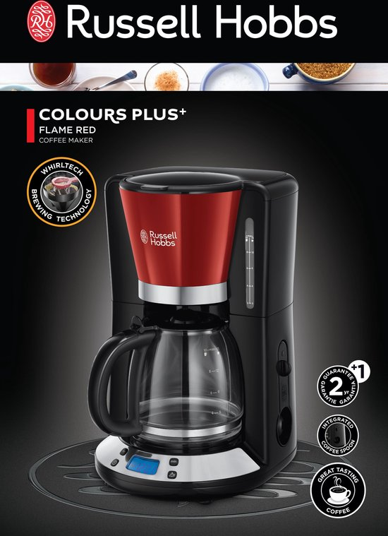 Russell Hobbs 24031-56 Colours Plus+ - Koffiezetapparaat met glazen kan - Rood
