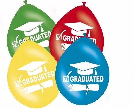 Geslaagd / afgestudeerd versiering ballonnen graduated 8 stuks