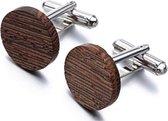 Donkerbruine houten manchetknopen rond