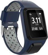 Siliconen Sportband Voor Tomtom Adventurer / Golfer 2 / Spark / Runner 2/3 - Armband Polsband Strap - Blauw/Grijs