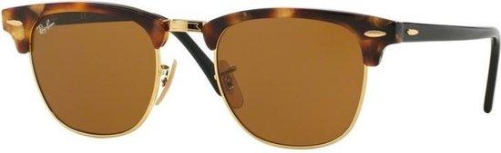 Ray-Ban RB3016 1160 - zonnebril - Clubmaster (Fleck) - Tortoise-Zwart / Bruin Klassiek B-15 - 49mm
