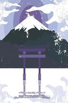 Japanese shrine with mountain in violet