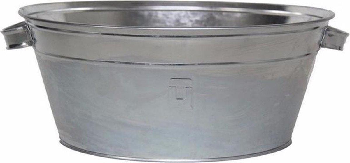 Set van 1x Ronde zilveren zinken teil 11 liter - Tuin artikelen/decoratie - Metalen emmers - Merkloos