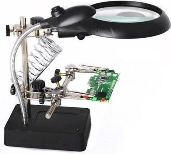 Derde Hand Met Vergrootglas & LED Verlichting - 3De Helping Hand Met Soldeerbout Houder - Helping3rdHand
