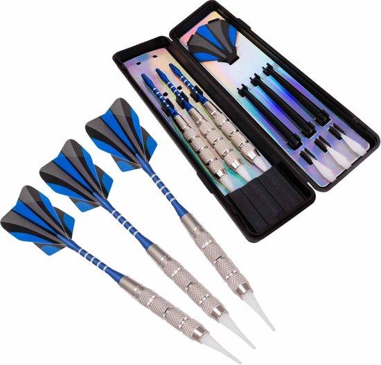 Afbeelding van het spel #DoYourDart - 3x Soft Dartpijlen - »BlueStripes« -  incl. case voor opslag + 6x PET Dart flights - perfecte grip, ijzeren barrel | Aluminium shaft gewicht dart: 17.9g  - zilver