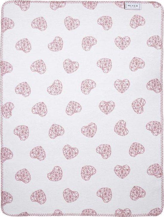 Meyco Geometric Heart ledikantdeken - 120 x 150 cm - oudroze