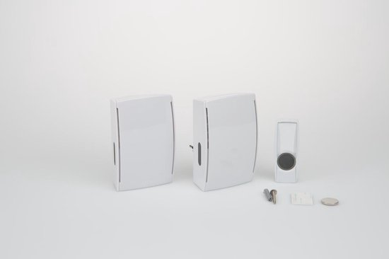 Byron BY532E - Draadloze deurbel duopack - 125m - Plug-in deurbel & draagbare deurbel - Beldrukker licht op in het donker - Wit - Byron