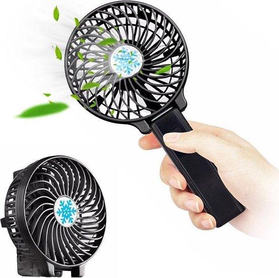 Oplaadbare Draagbare Ventilator - Handventilator Op Batterij 3 Standen - Zwart