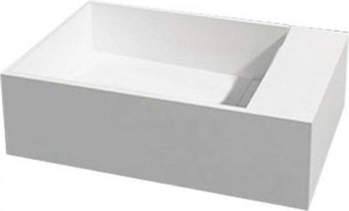 Wastafel Hangend U50 Rechthoek 50x30x15cm Solid Surface Glans Wit Zonder Kraangat 4000540