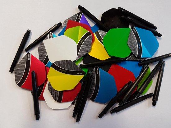 10 sets (30 stuks) Curve/poly dartflights plus 5 sets (15 stuks) dartshafts - dartflight - dartshaft - multipack