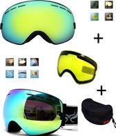 Ski bril met box en EXTRA lens Smoke Gold frame Zwart F type 4 Cat. 0 tot 4 - ☀/☁