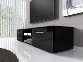 Meubella - TV-meubel Basura I LED - Zwart - 160 cm