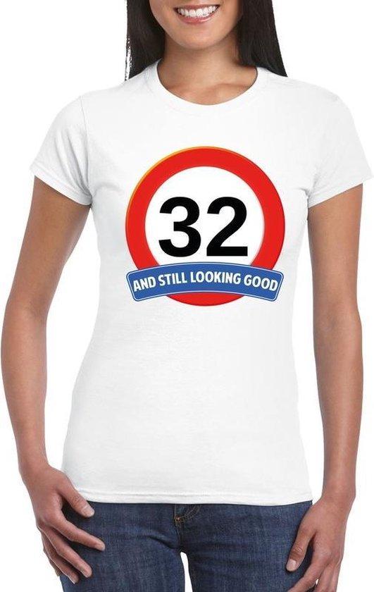 Verkeersbord 32 jaar t-shirt wit dames XL