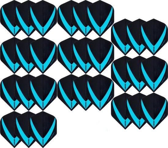 Afbeelding van het spel 10 sets (30 stuks) Super Sterke Aquablauwe Vista-X – darts flights – Dragon darts