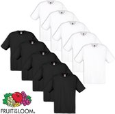 Fruit of the Loom 10 Originele T-shirt 100% Katoen Wit / Zwart M