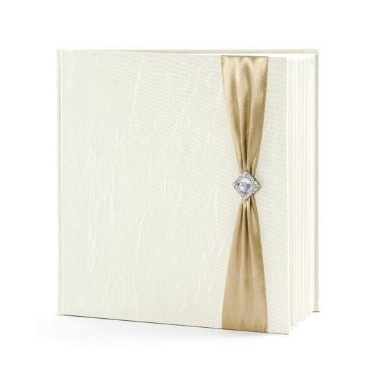 Bruiloft gastenboek creme met goud - Huwelijk receptieboek