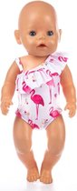 Poppenkleertjes - Geschikt voor Baby Born - Flamingo badpak  - Zwemkleding -  Roze - Strandkleding - Zomer