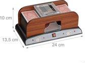 relaxdays kaartenschudmachine elektrisch - 2 decks - schudmachine speelkaarten - houtlook