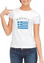 Wit dames t-shirt met vlag van Griekenland L