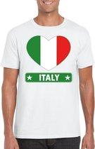 Italie hart vlag t-shirt wit heren 2XL