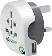 Q2Power Reisstekker - Wereld + USB naar United Kingdom