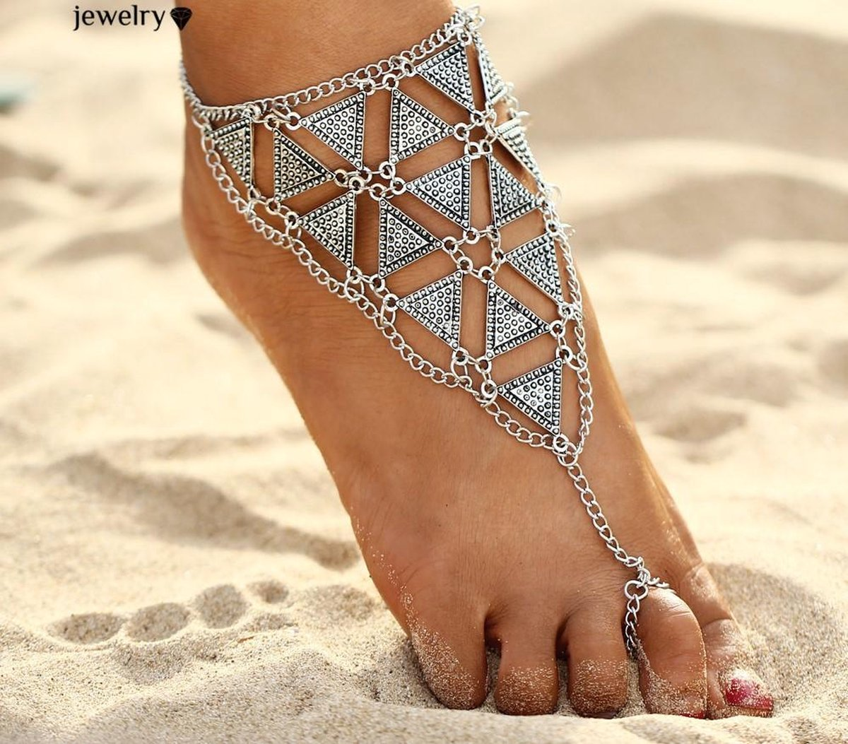 Fashionidea – mooie zilverkleurige enkelband triangles silver driehoekig voetsieraad - fashionvibe.nl
