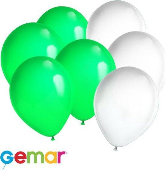 30x ballonnen Lime Groen en Wit (Ook geschikt voor Helium)