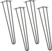 Hairpin poten tafelpoten 3-punt set van 4 - 72 cm - metaal grijs