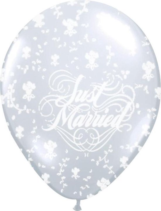 Ballonnen Metallic Wit Just Married 25 stuks