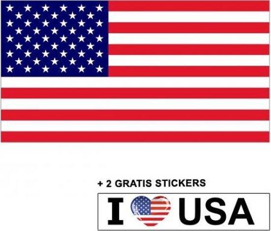 Amerikaanse vlag  met 2 gratis Amerika stickers