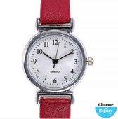 Horloge -Jol-voor de smalle pols- Lederbandje- Rood- 26 mm
