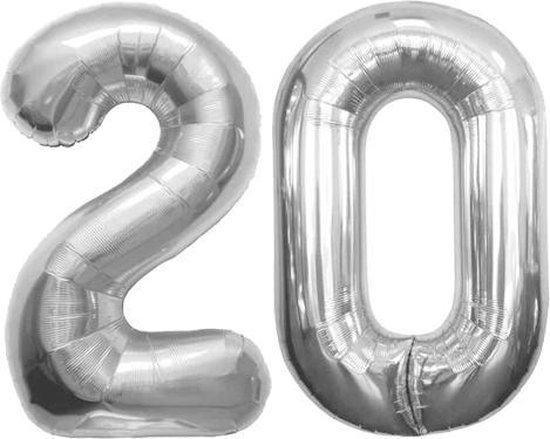 Cijfer 20 Zilver Folieballon 86 cm Excl. Helium