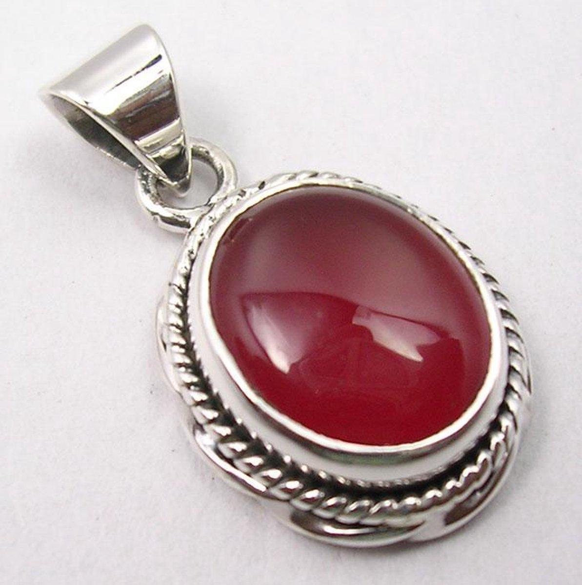 Natuursieraad -  925 sterling zilver boho rood carneool ketting hanger - luxe edelsteen sieraad - handgemaakt - Terra Edela