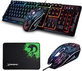 Afbeelding van Gaming Keyboard Muis Sets K13 USB Bedraad 104 Toetsen Regenboog LED Backlit Multimedia Ergonomisch Gamer Toetsenbord + 2400 DPI 4 Knoppen Optical Game Muizen + Muismat voor PC Laptop