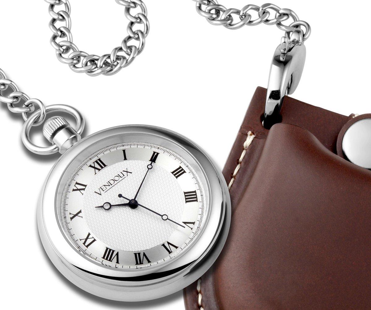 VENDOUX The Pocket Watch AMD 100-02 - Zakhorloge - Heren - Zilverkleurig - Ø 42mm - VENDOUX