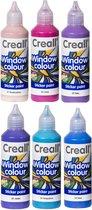 Glas Verf - 6 Kleuren Assortiment – 6 x 80ml - Windowcolor – Met handig Tuitdop – Maak zelf mooie Stickers