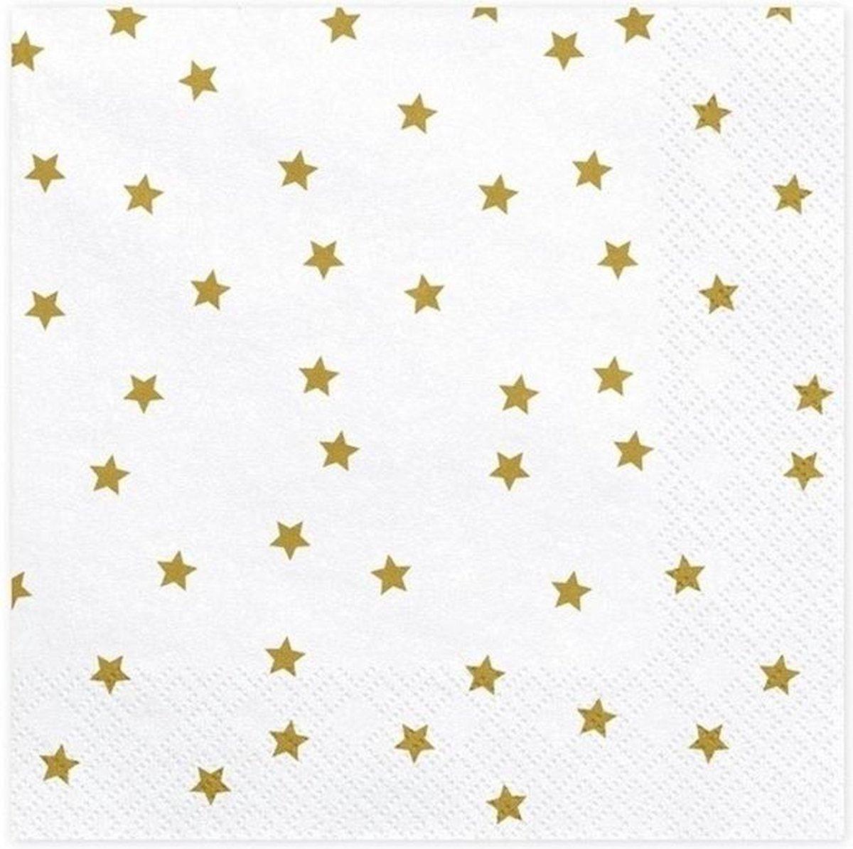 20x Kerst servetten met gouden sterren 33 cm - Merkloos
