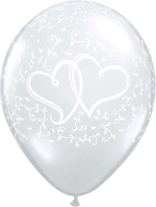 Zilveren Liefde Ballonnen Hartjes 28cm - 50 stuks