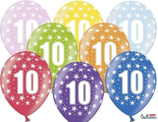 """""""""""""""Ballonnen 30cm, 10th Birthday, Metallic Mix (1 zakje met 6 stuks)"""""""""""""""