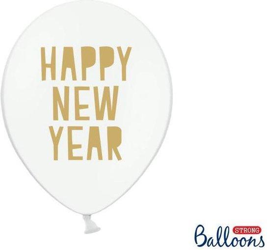 Ballonnen 30 cm, Happy New Year, Pastel Pure wit (1 zakje met 50 stuks