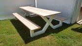 Picknick Tafel Douglas   Wit   350cm   X-onderstel   Robuuste Picknicktafel