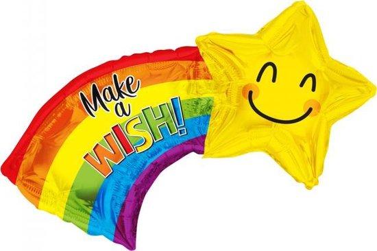 Folie ballon xl make a wish! regenboog met ster 71 cm groot