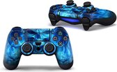 PS4 dualshock Controller PlayStation sticker skin | Blue Skull met gratis 1 paar thumb grips