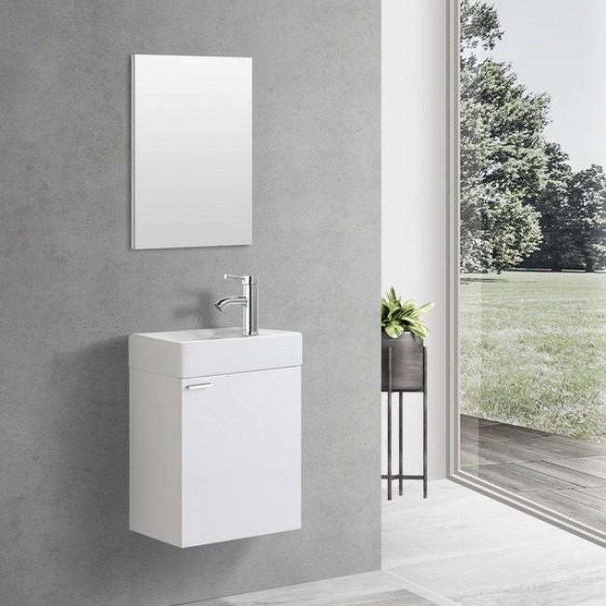 Toiletmeubel Creavit Aloni Hangend Rechtsdraaiend 40x60x22cm MDF Glans Wit Softclose Keramiek Wasbak