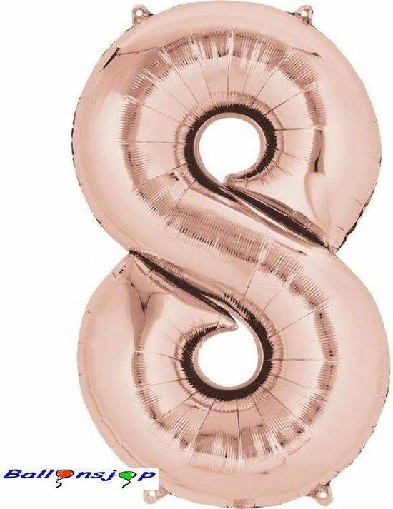 folie ballon cijfer 8 rose/goud 86 cm