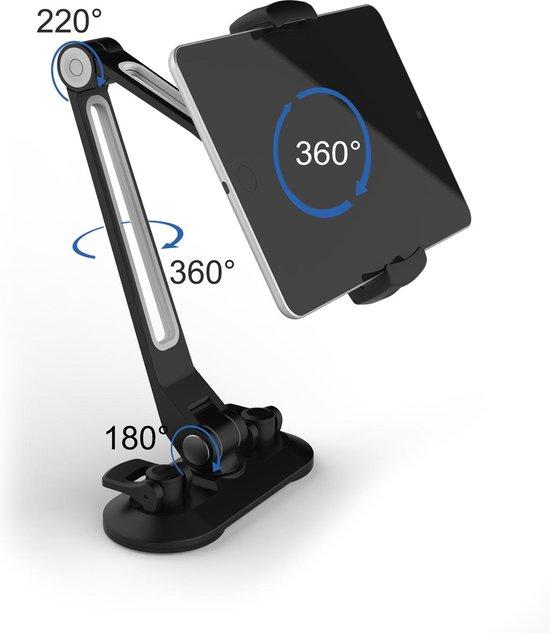 Universele iPad/Tablet/Smartphone Houder compatibel met bijna alle apparaten (van 4 tot 12,9 inch) 360° draaibaar Desktopstaander met zuignap multifunctioneel Auto/Keuken/Werkplaats/Badkamer