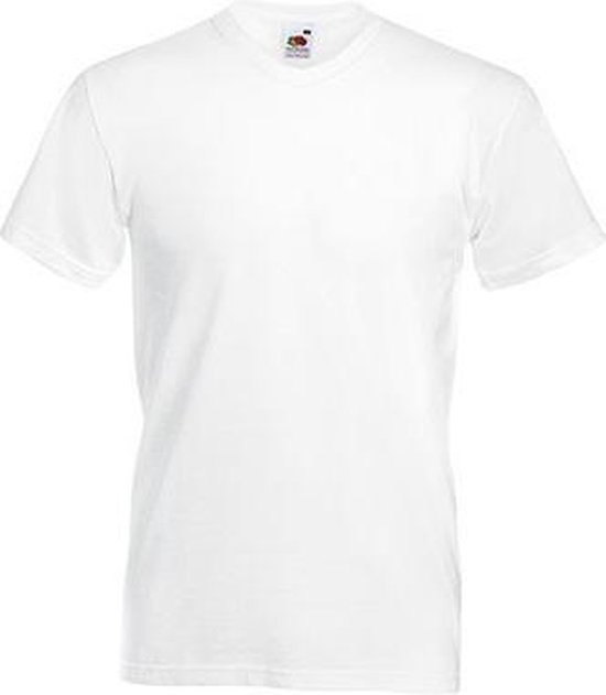 5-Pack Fruit of the Loom T-shirt - V-hals - Wit - Maat XXL