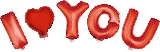 Valentijn Folie ballonnen set rood - I LOVE YOU