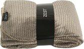GAEVE | Zest fleece deken - heerlijk zacht, warm plaid - 125*150 cm - vacht zijde - spikkel taupe